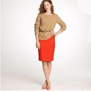 J Crew Orange Wool Blend Pencil Skirt H30